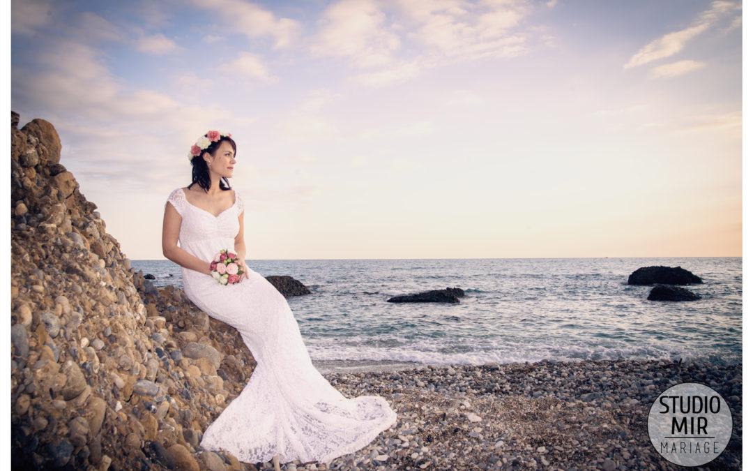 Séance engagement en bord de mer – Menton