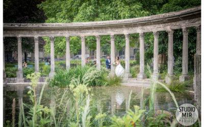 Photos de mariage pour couple au Parc Monceau
