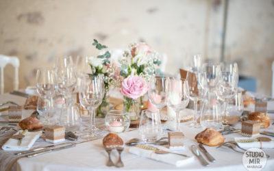 Photographe de mariage : décoration de la salle au domaine de Brunel – 95