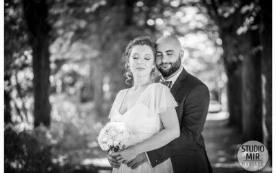 Photographe de mariage : photos de couple en noir et blanc dans l'Essonne